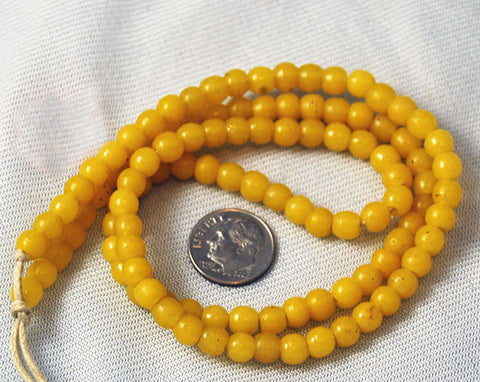 African Trade Yellow Prosser Beads 5mm