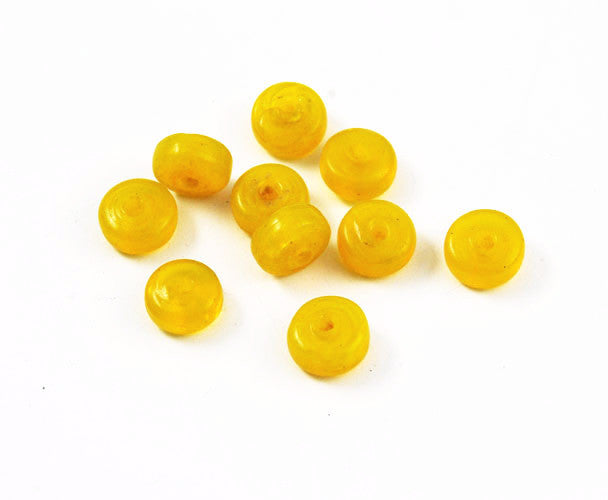Yellow Wound Glass Rondelles 8-9 x 6mm