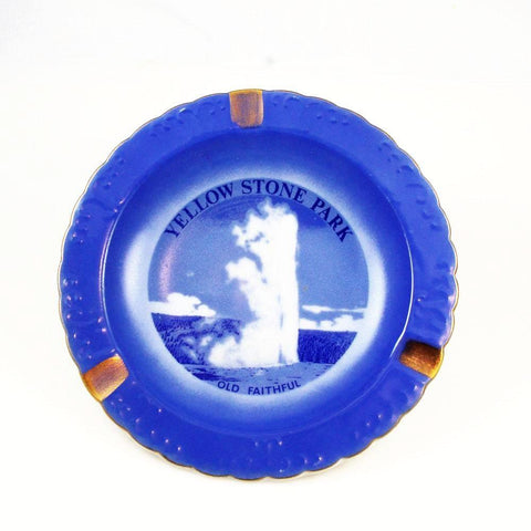 Vintage Yellowstone Park Blue Plate Ash Tray