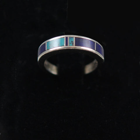 Zuni Inlaid Lapis and Turquoise Sterling Ring 6