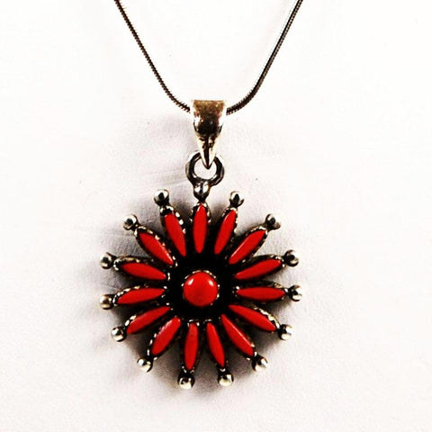 Zuni Red Coral Needlepoint Sterling Necklace