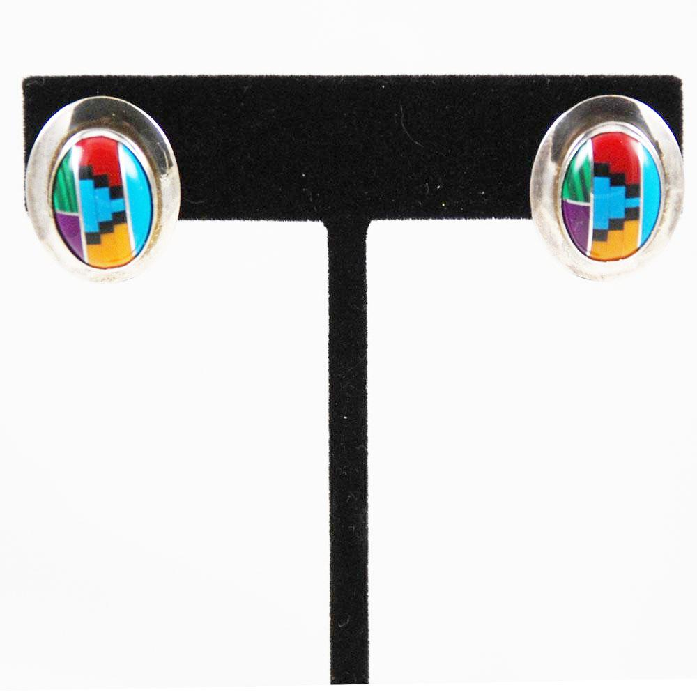 Zuni Inlaid Sterling & Gemstone Earrings