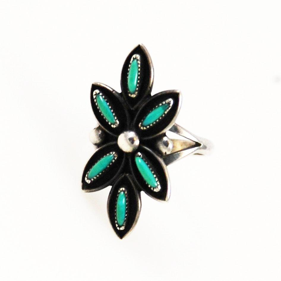 Zuni Turquoise Petit Point Native American Ring