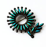 Zuni Turquoise Needlepoint Sterling Silver Brooch