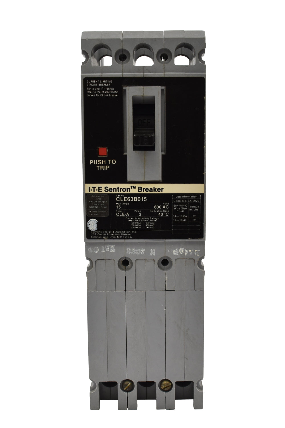 Siemens CLE63B015 Circuit Breakers