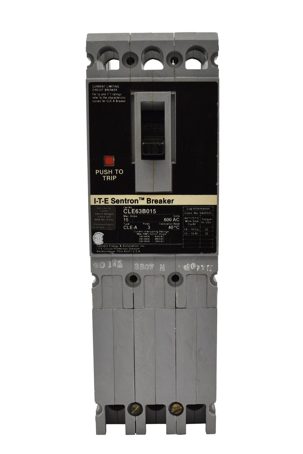 Siemens CLE63S100 Circuit Breakers