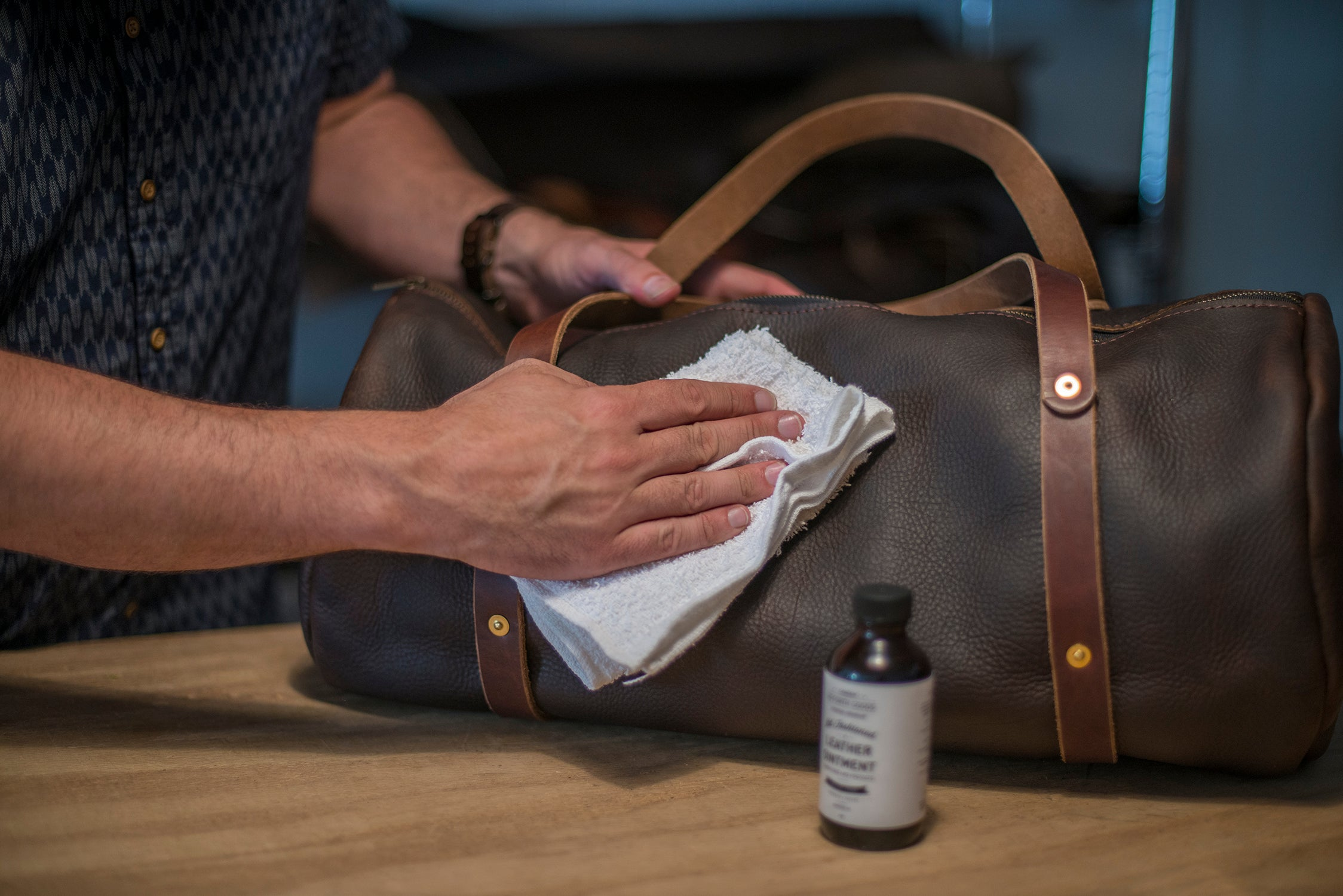 Applying to bag leather