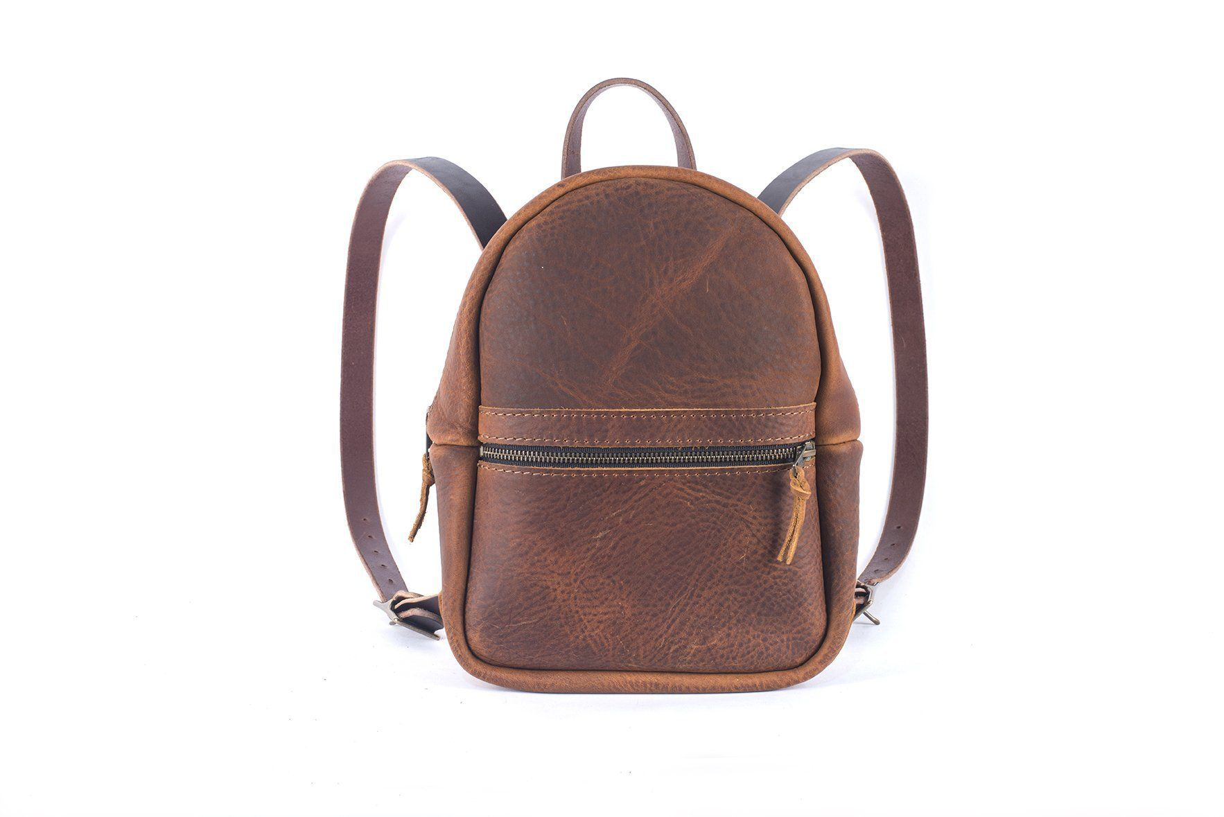 CLASSIC ZIPPERED SMALL LEATHER BACKPACK PURSE