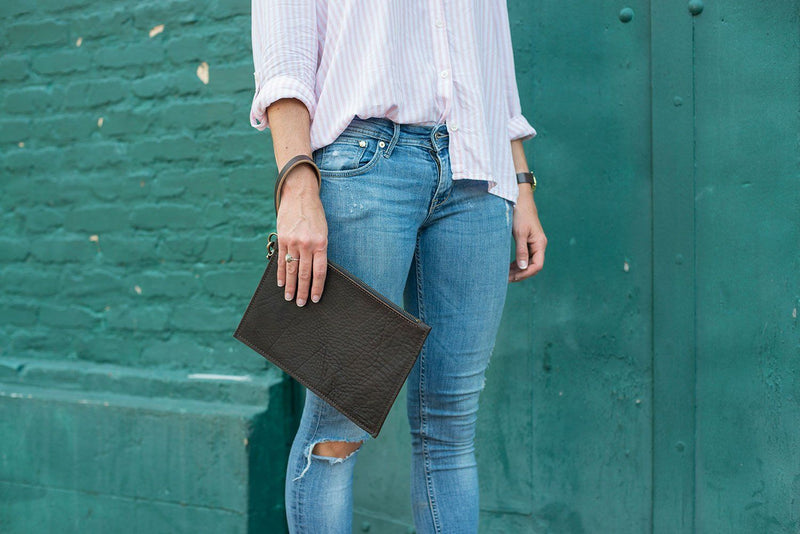 FELICITY ZIPPERED CLUTCH WITH WRISTLET SMALL