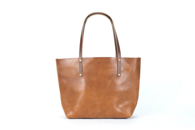 leather tote bag, full grain leather bag - caramel color - Avery Tote