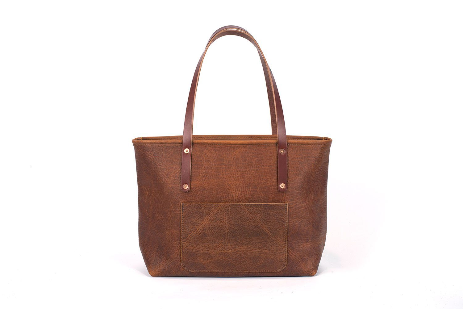 AVERY LEATHER TOTE BAG WITH ZIPPER - LARGE DELUXE