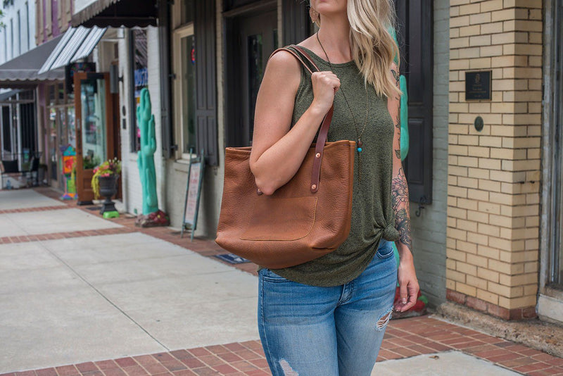 AVERY LEATHER TOTE BAG - MEDIUM DELUXE