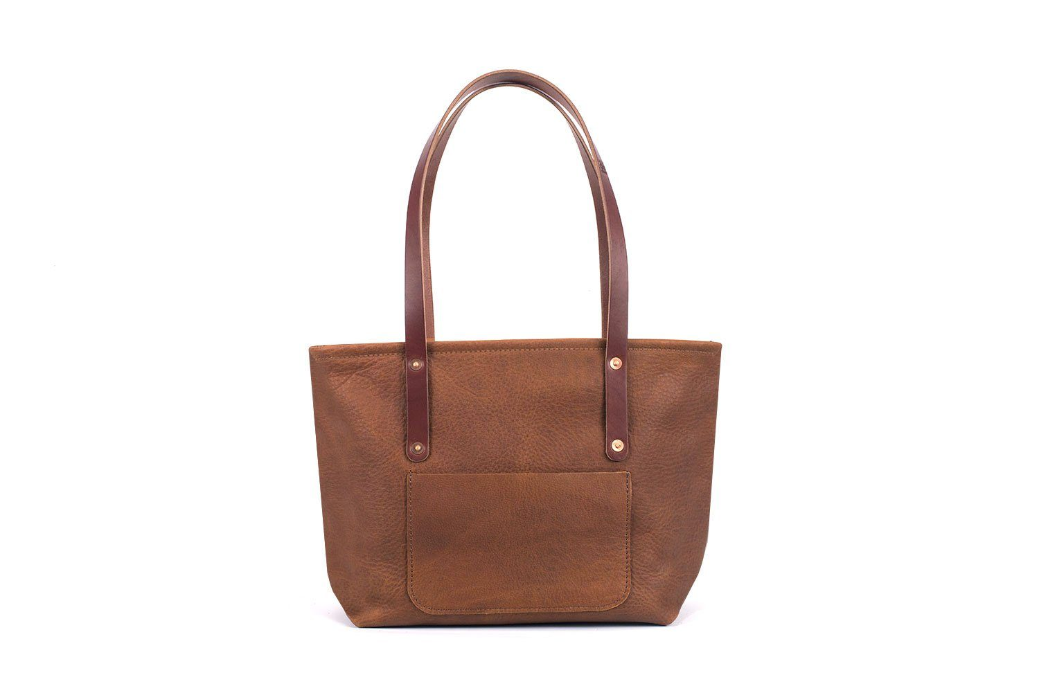 AVERY LEATHER TOTE BAG WITH ZIPPER - MEDIUM DELUXE