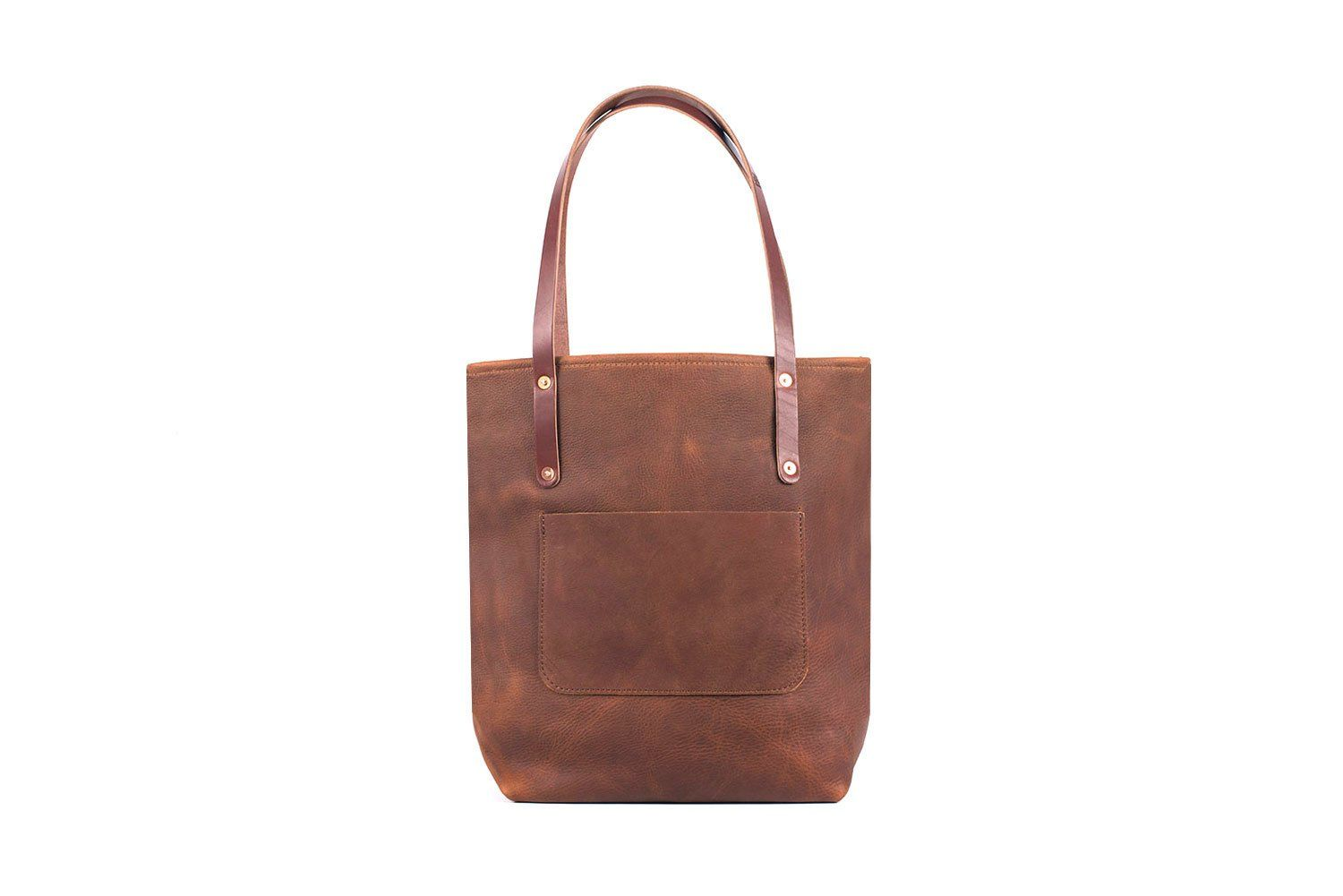 AVERY LEATHER TOTE BAG WITH ZIPPER - SLIM LARGE DELUXE