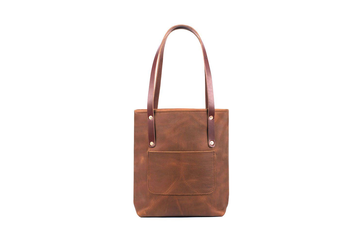 AVERY LEATHER TOTE BAG WITH ZIPPER - SLIM MEDIUM DELUXE