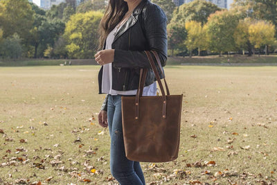 AVERY LEATHER TOTE BAG - SLIM LARGE