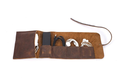 LEATHER CHARGING CABLE TOOL ROLL