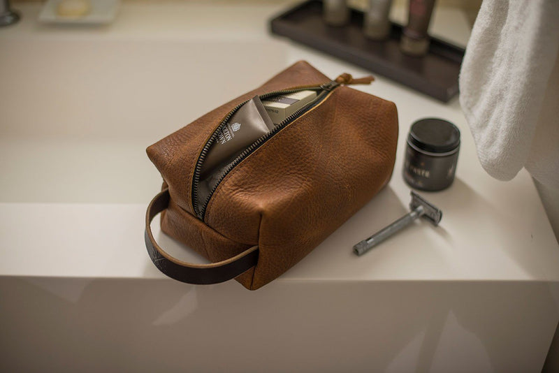 LEATHER SHAVE KIT - LEATHER TOILETRY BAG - LEATHER DOPP KIT