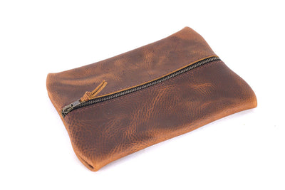FLAT PACK ZIPPERED LEATHER POUCH
