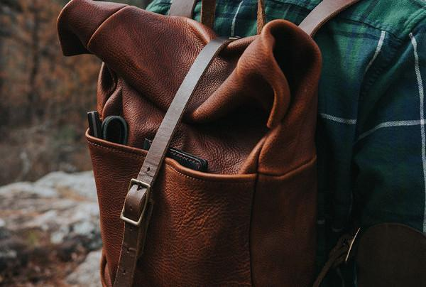 GRANT LEATHER ROLL TOP RUCKSACK BACKPACK