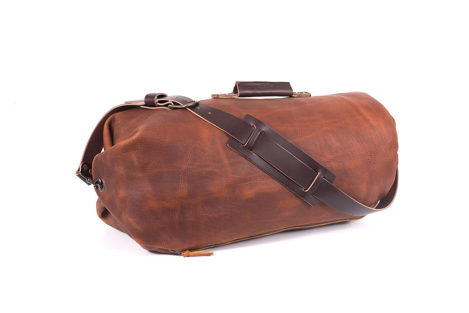 GUNNAR ZIPPERED LEATHER DUFFLE BAG - MILITARY STYLE DUFFLE BAG