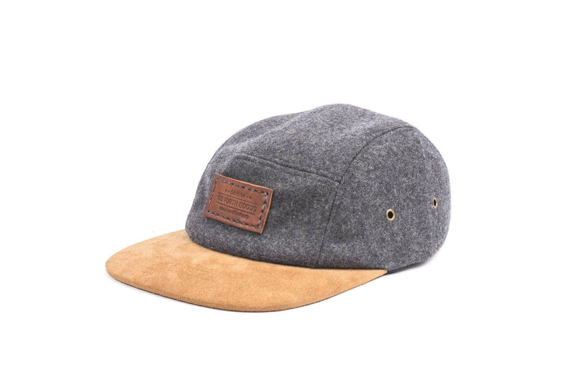 5 Panel GFG Logo Hat - Gray Wool and Suede