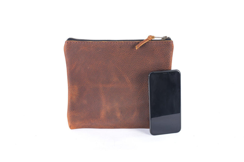LEATHER TOP ZIPPER POUCH