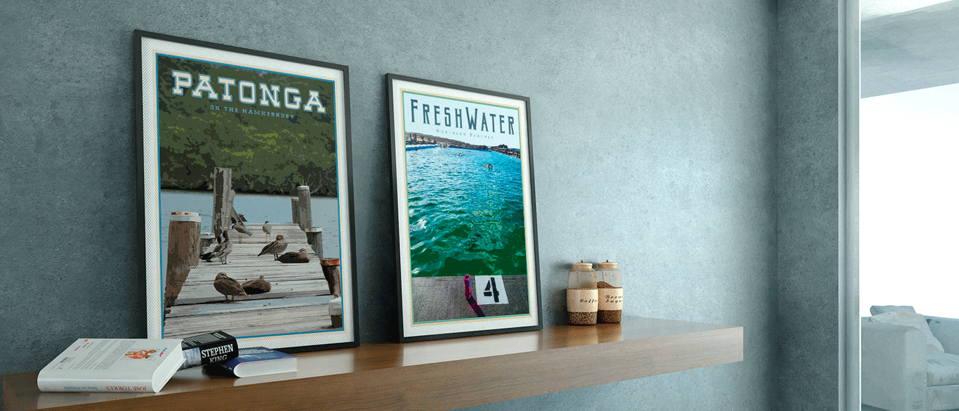 Freshwater and Patonga framed art prints by Places We Luv