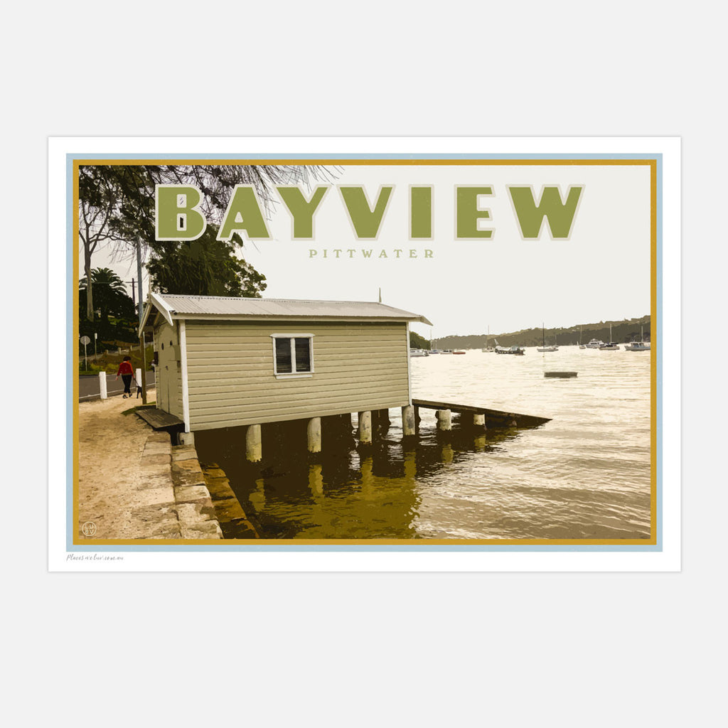 Bayview travel style poster - Sydney - original design by placesweluv