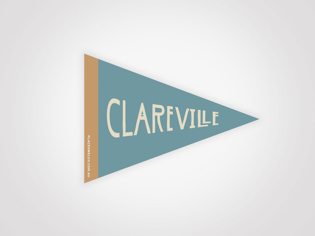 Clareville vintage travel style flag decals by Places we luv