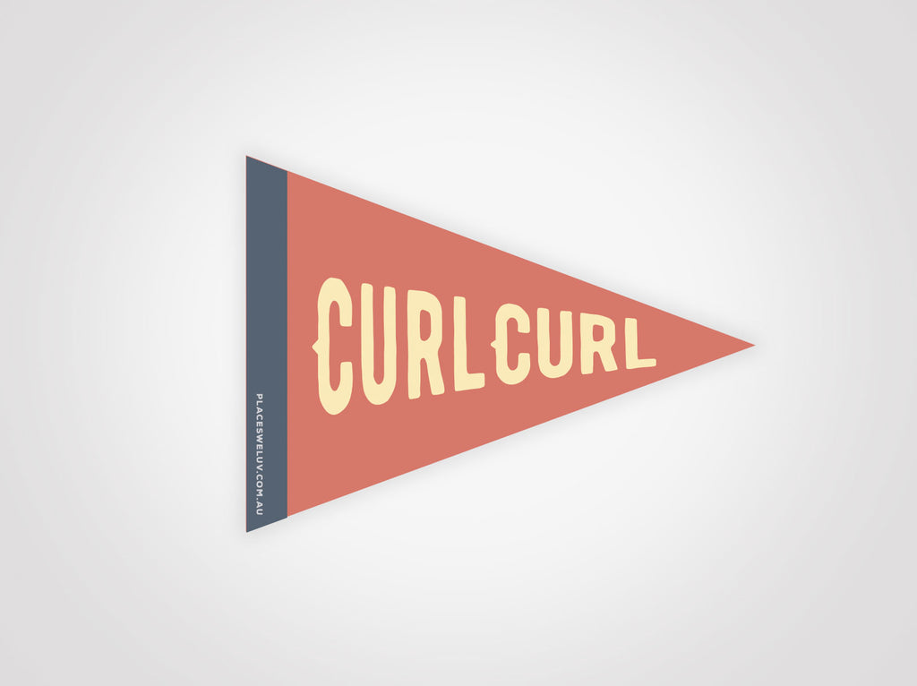 Curl Curl Vintage travel style Flag decal retro design by place we luv