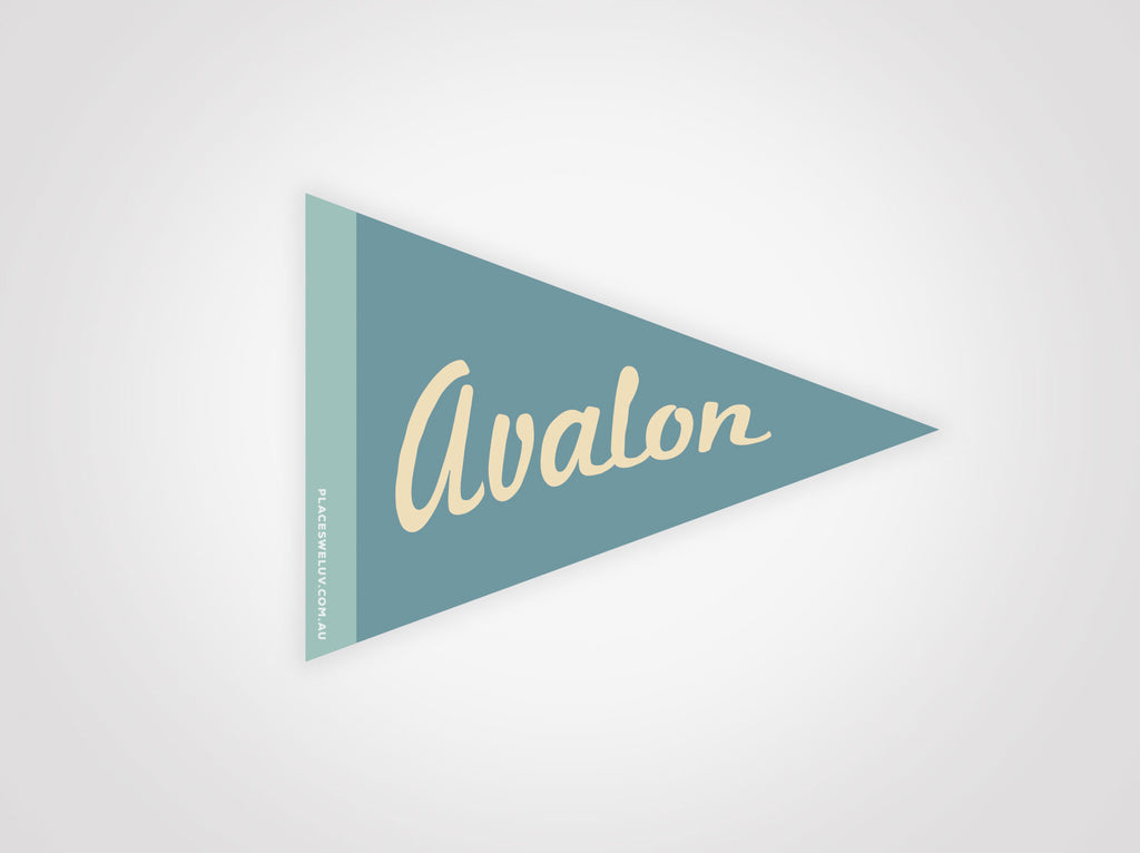 Avalon Vintage travel style Flag decal retro design by place we luv