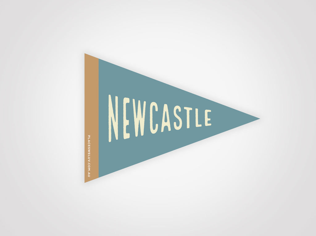 Newcastle travel retro flag decal by places we luv