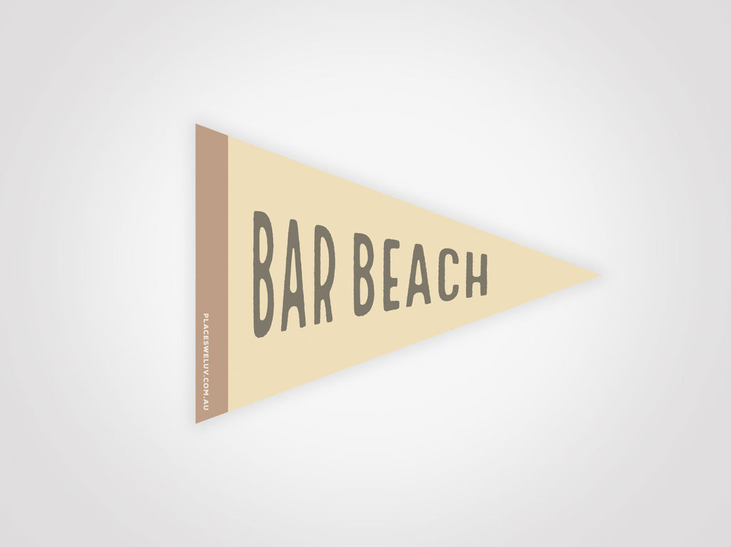 Bar Beach retro travel flag decal by places we luv