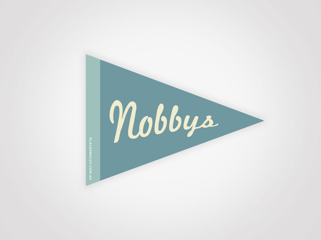 Nobbys beach vintage style travel decal by Places we luv