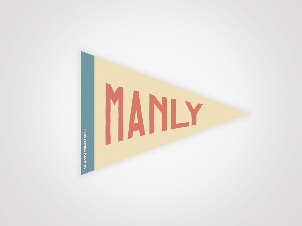 Manly vintage travel style Flag decal retro design by place we luv