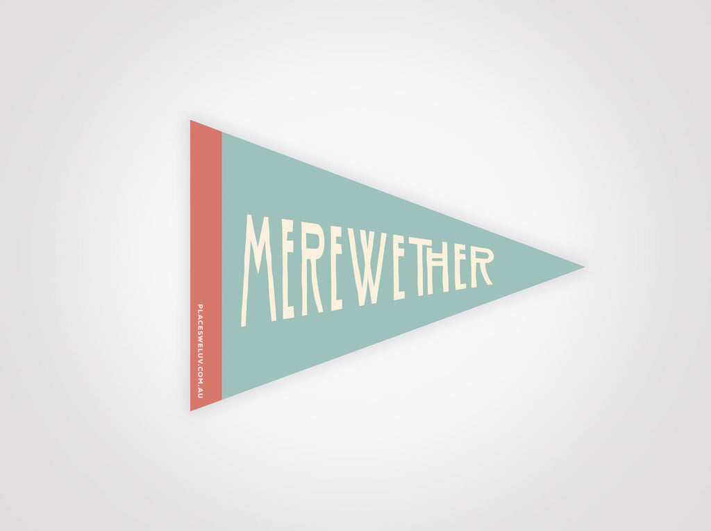 Merewether vintage travel style flag decal by places we luv