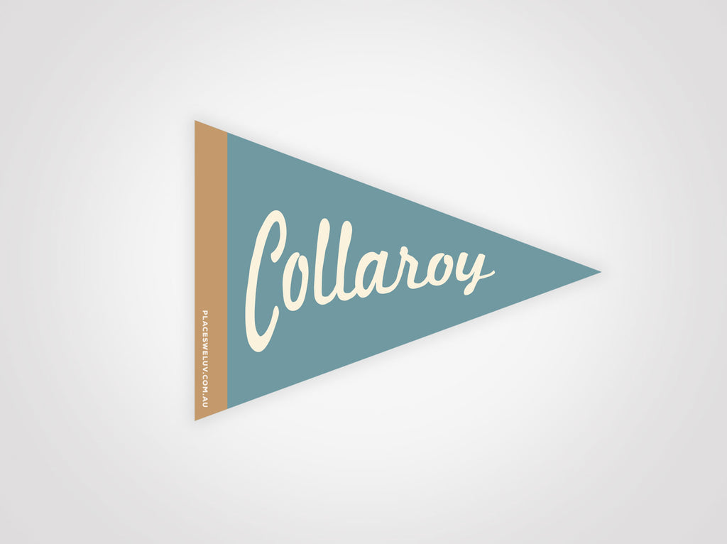 Collaroy vintage travel style Flag decal retro design by place we luv