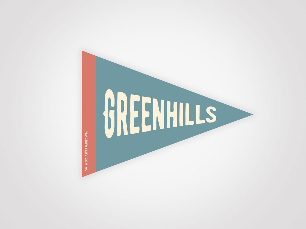 Greenhills vintage travel flag decal by places we luv