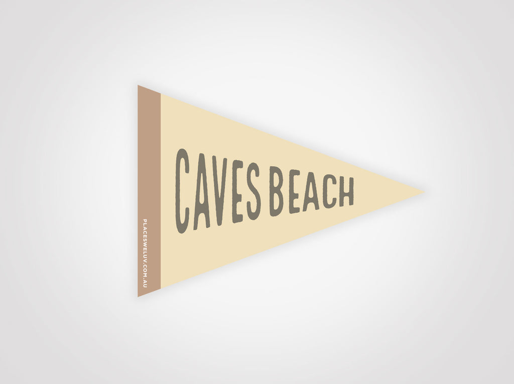 Caves Beach vintage style travel flag decal by Places We Luv
