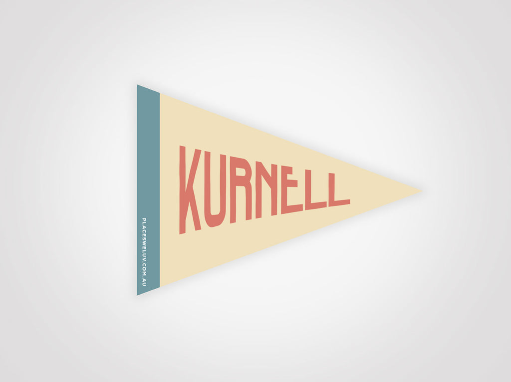 Kurnell vintage style travel flag decal by places we luv
