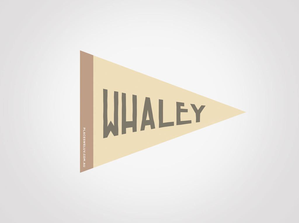 Whale Beach vintage travel style flag decals by Places we luv