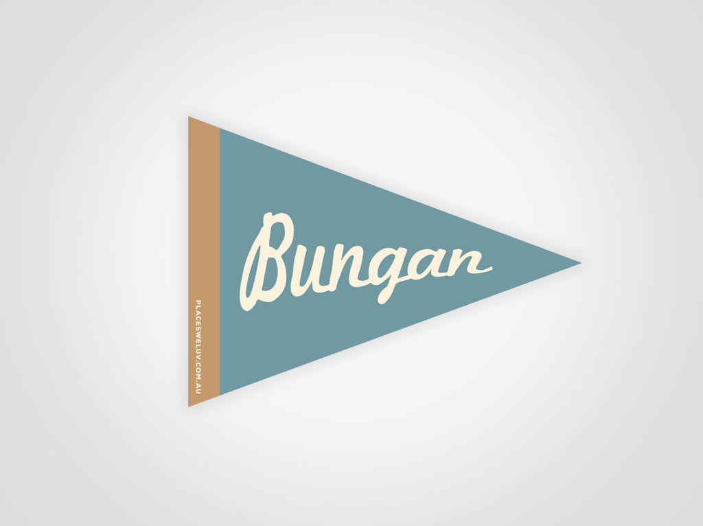 Bungan Beach vintage travel flag decal by places we luv