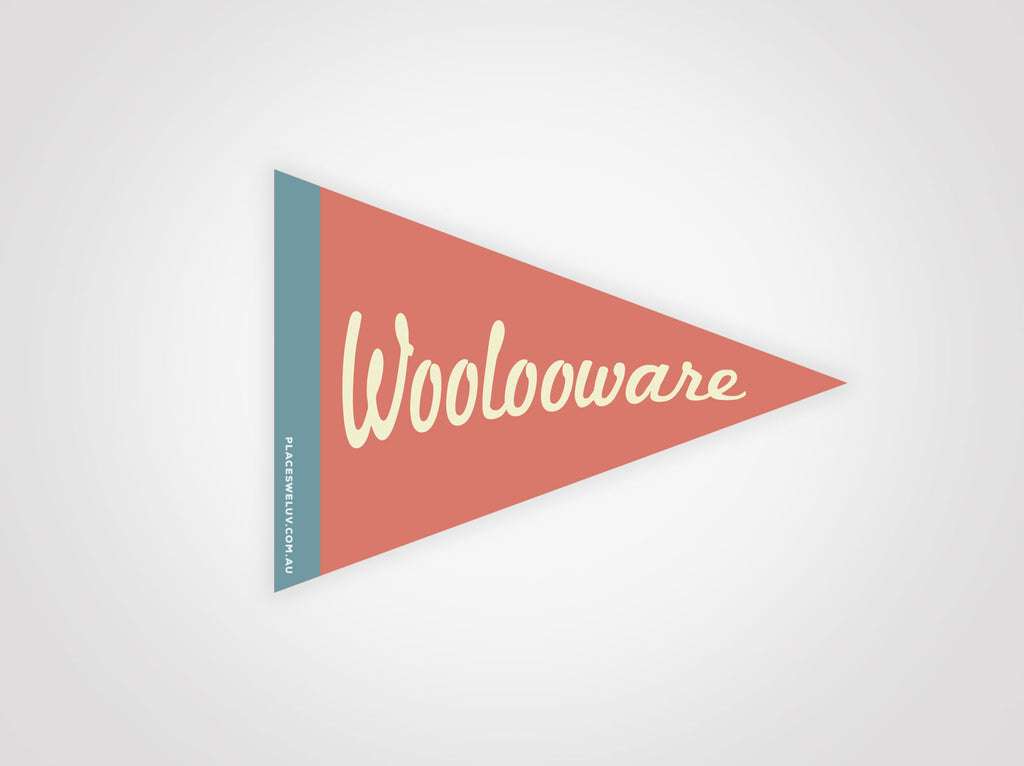 Woolooware vintage travel flag decals by places we luv
