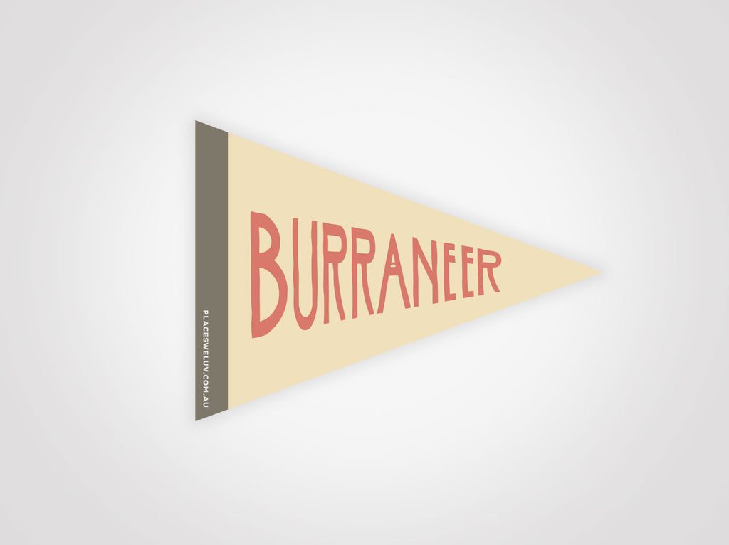 Burraneer bay retro travel flag decal by places we luv