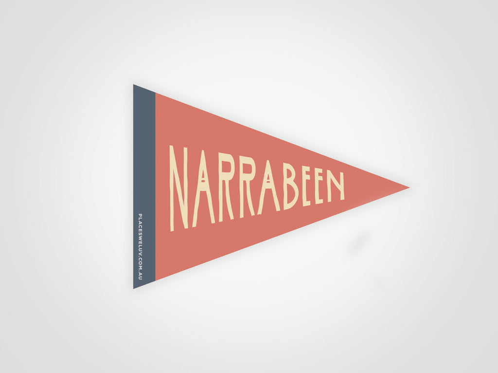 Narrabeen vintage travel style flag decal by places we luv