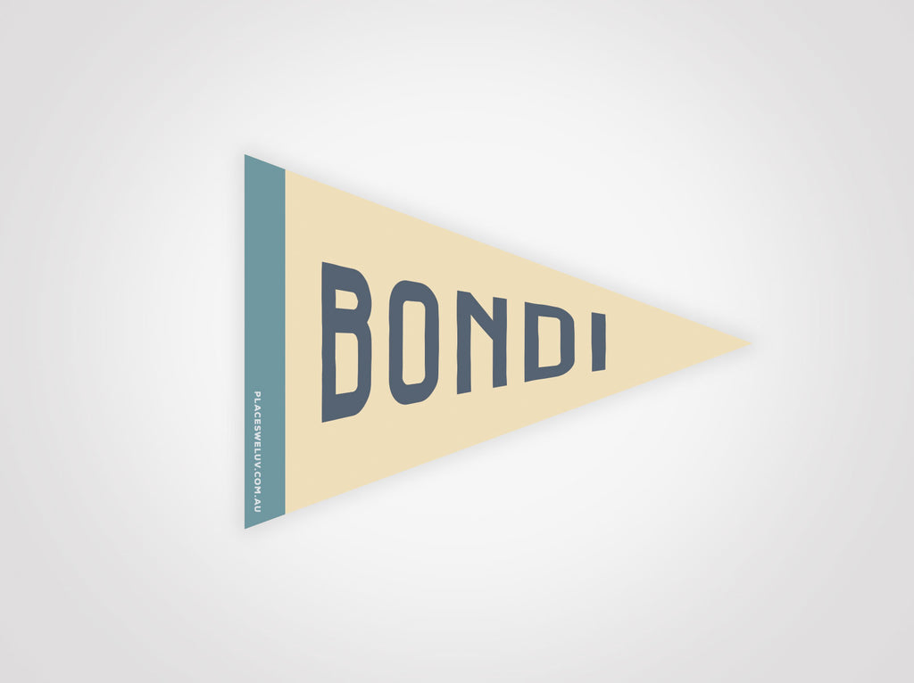 Bondi Vintage travel style Flag decal retro design by place we luv