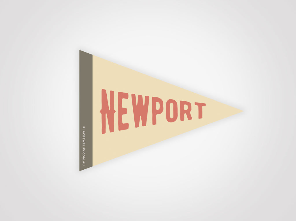 Newport beach vintage travel style flag decals by places we luv
