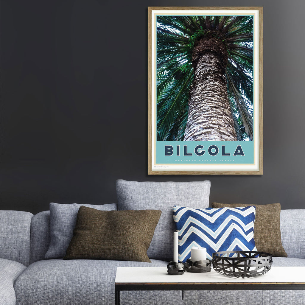 Bilgola palm Northern Beaches travel style poster original design by placesweluv