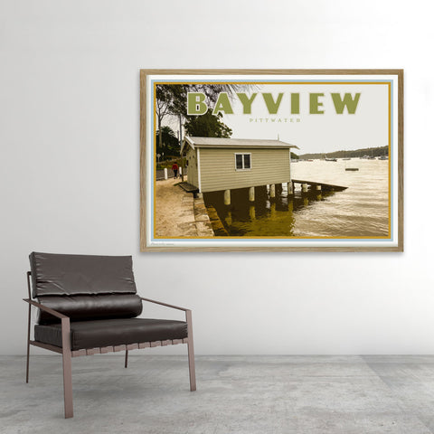 Bayview Pittwater poster - Sydney - original design by placesweluv